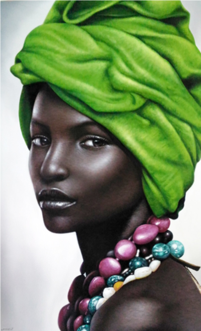 Expressionsmetis Home Decor Wall Art Decoration African Woman Ethnic Painting Green Portrait