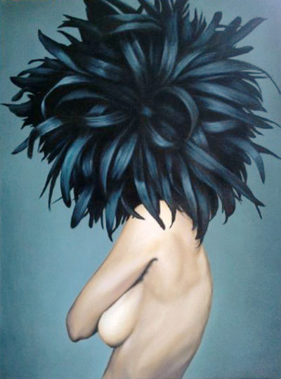 Expressionsmetis Home Decor Wall Art Decoration Original Painting Nude Woman Black Feather Ribbon Hair Canvas