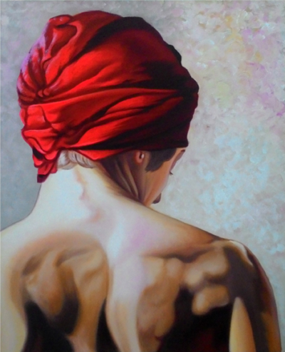 Expressionsmetis Home Decor Wall Art Decoration Red Turban Back Original Painting