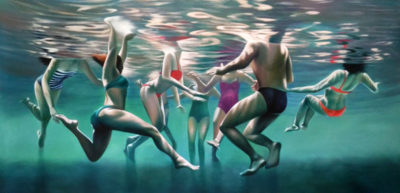 Expressionsmetis Home Decor Wall Art Decoration Swim Crowd Under Water Original Painting On Canvas