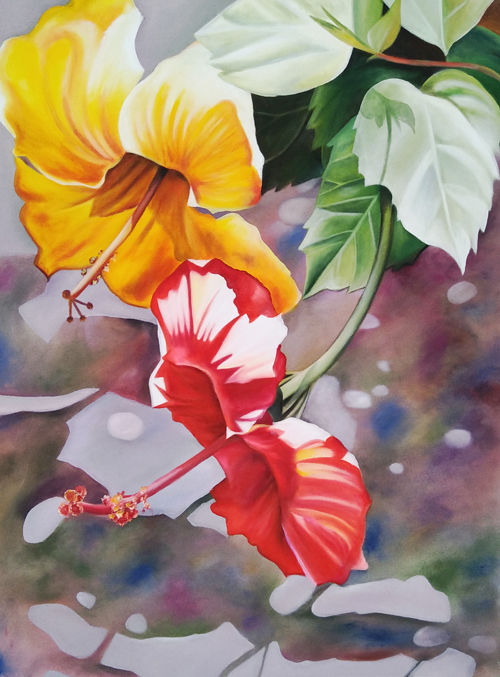 Expressionsmetis Home Decor Wall Art Hibiscus Original Painting Canvas
