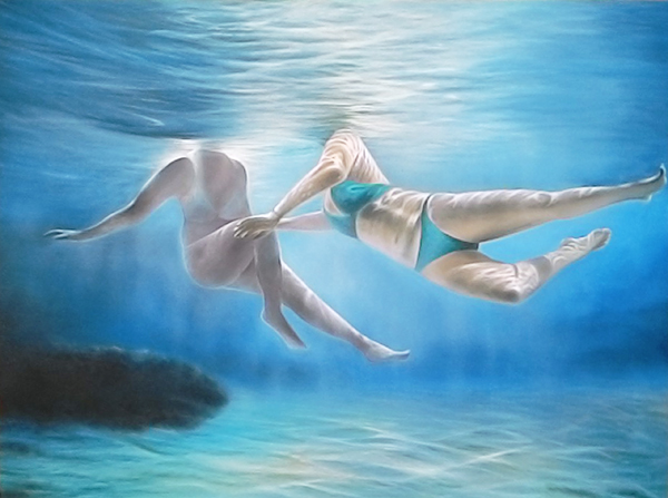 Expressionsmetis Home Decor Wall Art Original Painting Canvas Under Water View Swimmers