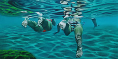 Expressionsmetis Home Decor Wall Art Original Painting Two Swimmers Dive View Under Water Canvas