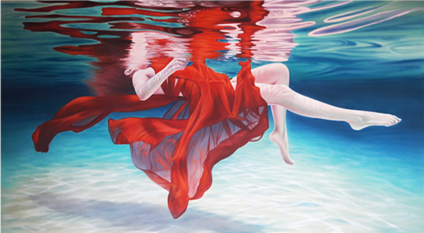 Expressionsmetis Home Decor Wall Art Red Afloat Woman Swimming Original Painting