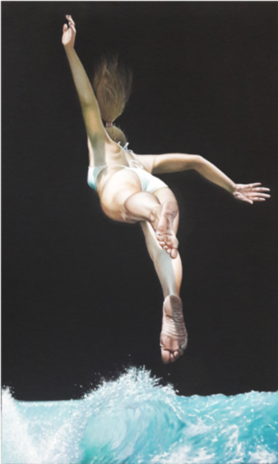 Expressionsmetis Home Decor Wall Art Swim Plunge Jump Original Painting