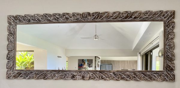 Expressionsmetis Home Decor Wall Decoration Oversized Rectangle Balinese Wooden Mirror Frame Leaf Design