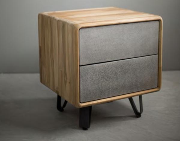 Expressionsmetis Igrey Teak Bed Side Table Cabinet Drawer Furniture