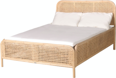 Expressionsmetis Indoor Furniture Bed Room Mata Ayam Chicken Eye Cane Natural Rattan Double Size Sleep