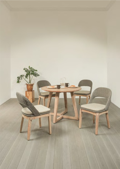 Expressionsmetis Indoor Furniture Dining Set Round Wooden Table Synthetic Rattan Wood Chair