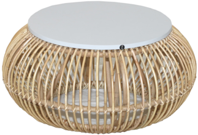 Expressionsmetis Indoor Furniture Living Room Natural Rattan White Top Round Coffee Table Boho Style
