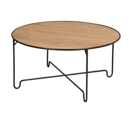 Expressionsmetis Indoor Furniture Living Room Round Black Metal Leg Coffee Table Teak Top
