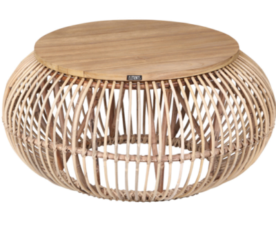 Expressionsmetis Indoor Furniture Natural Rattan Round Coffee Table Wood Top Boho Chic