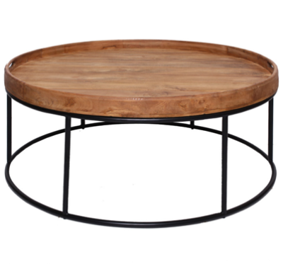 Expressionsmetis Indoor Furniture Round Metal Frame Teak Top Coffee Table Living Room