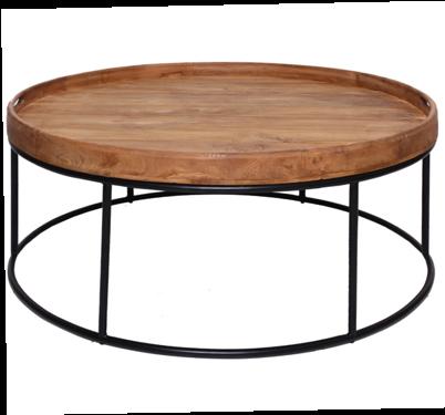 Expressionsmetis Indoor Furniture Round Metal Frame Teak Top Coffee Table Living Room