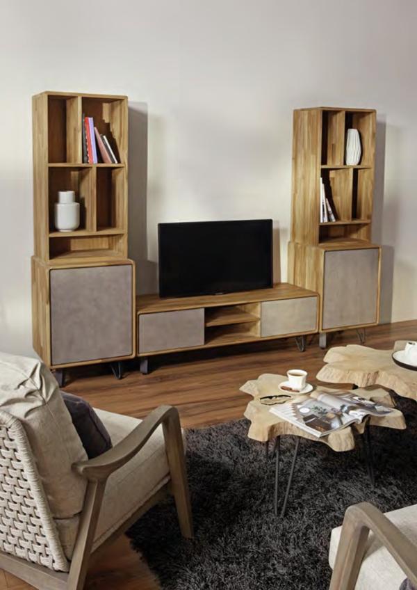 Expressionsmetis Indoor Furniture Tv Cabinet Storage Wooden Book Shelves Metal Legs
