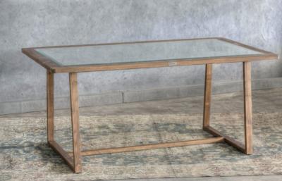 Expressionsmetis Indoor Furniture Vintage Wooden Teak Dining Table Glass Top