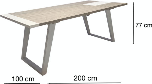 Expressionsmetis Indoor Outdoor Furniture Dining Table Metal Legs White Rectangle