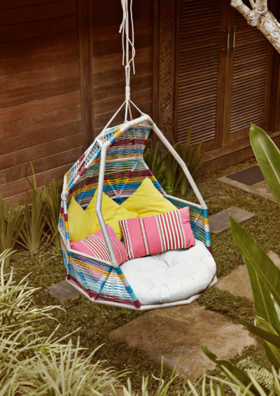 Expressionsmetis Indoor Outdoor Furniture Garden Colourful Rainbow Swing Coccoon Chair