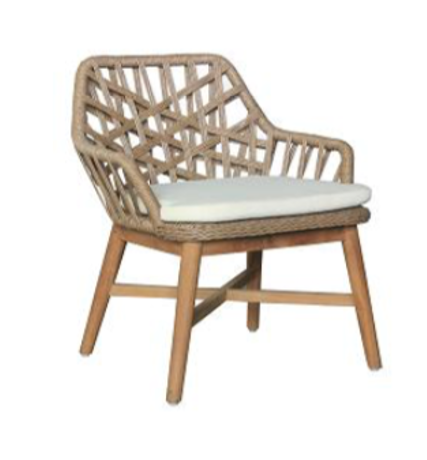 Expressionsmetis Indoor Outdoor Furniture Synthetic Rattan Rope Teak Legs Lounge Dining Chair Nude Taupe