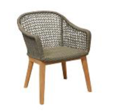 Expressionsmetis Indoor Outdoor Furniture Synthetic Rope Wooden Legs Dining Chair Knit Weave