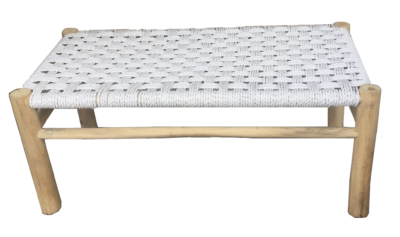 Expressionsmetis Indoor Outdoor Furniture Teak Branch Bench Synthetic Raffia White Weave