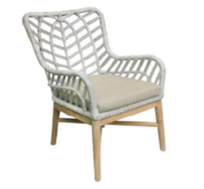 Expressionsmetis Indoor Outdoor Furniture White Synthetic Rope Wooden Legs Lounge Chair