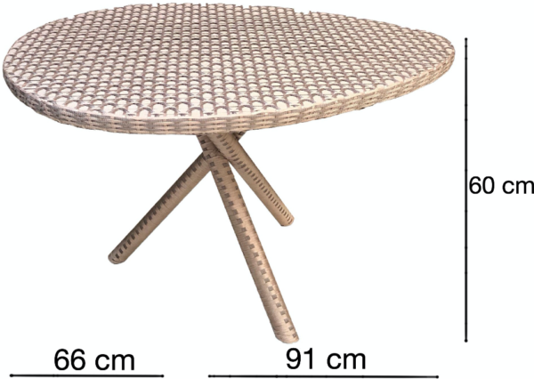 Expressionsmetis Indoor Outdoor Furniture Woven Straps Round Dining Table Satin Look