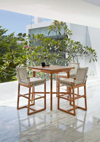 Expressionsmetis Indoor Outdoor Rope Furniture Teak Frame Woven Rope Bar Stool