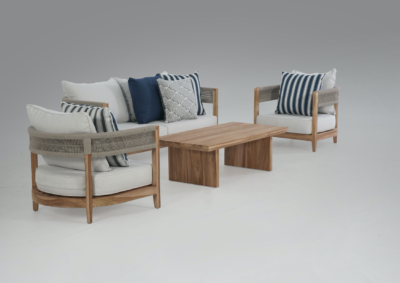 Expressionsmetis Indoor Outdoor Taupe Rope Sofa Living Set Teak Wood