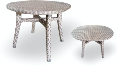Expressionsmetis Indoor Outdoor Woven Round Dining Table Satin Look