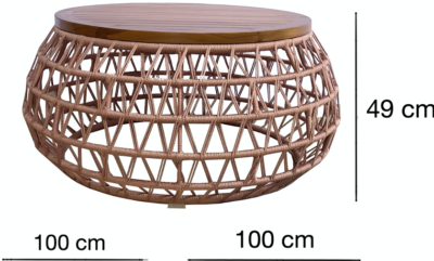 Expressionsmetis Indoor Outdoor X Weave Round Coffee Table Teak Wood Top Customisable