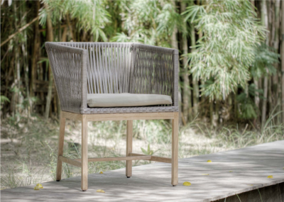 Expressionsmetis Indoor Outdoor0furniture Dining Armchair Dune Brushed Synthetic Rattan Flat Teak Legs