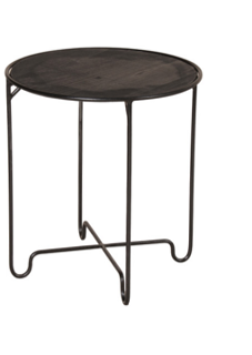 Expressionsmetis Indoor Round Side Table Black Metal Legs