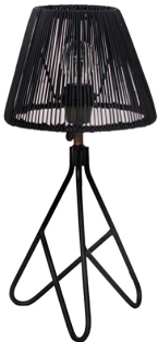 Expressionsmetis Metal Lamp Stand Black Natural Rattan Shade Bedroom Side Table Lamp
