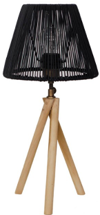 Expressionsmetis Mini Twisted Lamp Stand Natural Rattan Shade Black