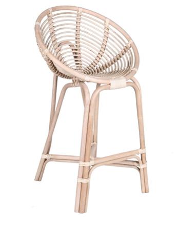 Expressionsmetis Natural Rattan Furniture Round Bar Stool