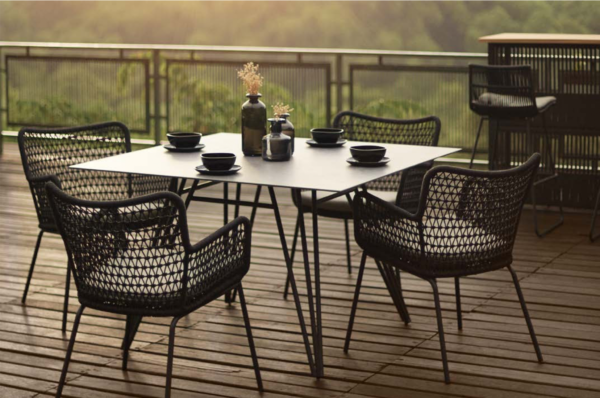 Expressionsmetis Outdoor Furniture Black Ceramic Square Dining Table Rope Woven Chair Metal Frame Legs