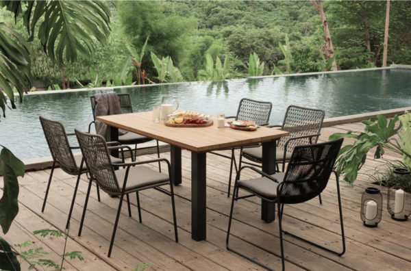 Expressionsmetis Outdoor Furniture Dining Table Teak Top Metal Legs Anthracite Woven Rope Chair