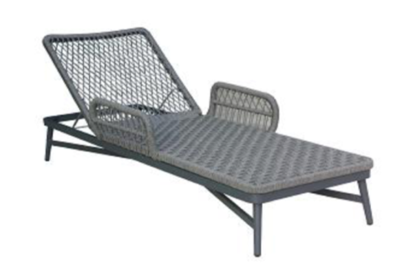 Expressionsmetis Outdoor Furniture Grey Rope Sun Lounger Pool Side