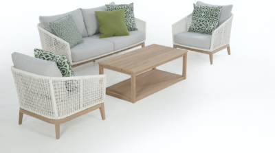 Expressionsmetis Outdoor Furniture Living Sofa Set Wood White Synthetic Rattan Teak Legs