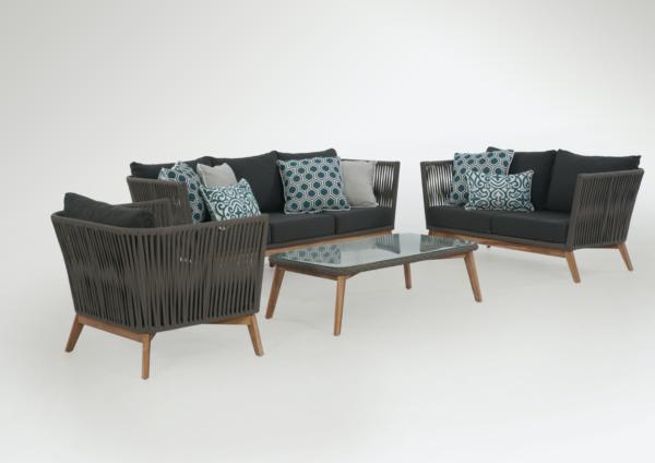 Expressionsmetis Outdoor Furniture Woven Flat Rope Wooden Teak Sofa Set Dark Grey