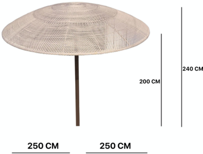 Expressionsmetis Outdoor Furniture Woven Round Parasol Umbrella Wooden Stand