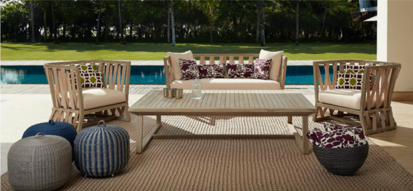Expressionsmetis Outdoor Living Area Furniture Woven Rope Teak Frame Set