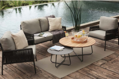 Expressionsmetis Outdoor Metal Frame Rope Furniture Living Lounge Set Anthracite