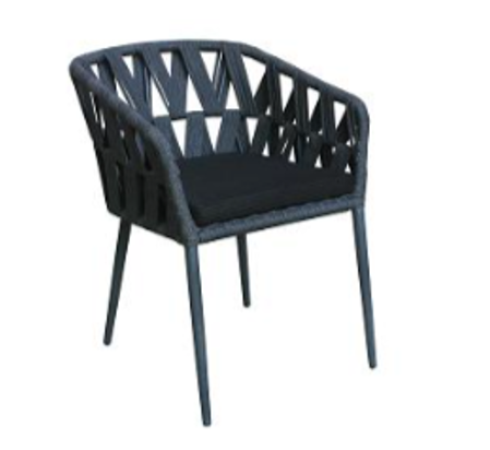 Expressionsmetis Outdoor Metal Synthetic Rope Black Dining Chair