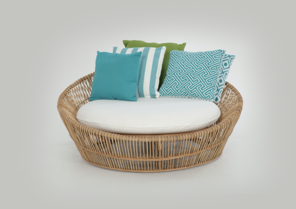 Expressionsmetis Outdoor Round Natural Rattan Safari Day Bed