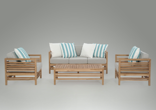 Expressionsmetis Outdoor Teak Wood Sofa Set Stripes