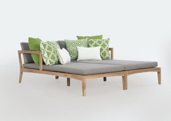 Expressionsmetis Outdoor Wooden Teak Medina Long Chair Lounger Double Set