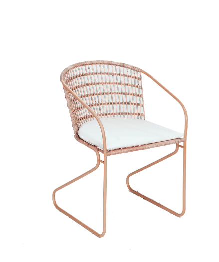 Expressionsmetis Pink Metal Frame Chair Legs Woven Rattan Seat