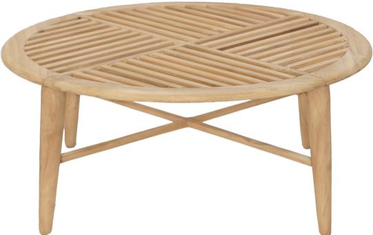 Expressionsmetis Round Coffee Table Teak Wood Slats Top Geometrical Patterns